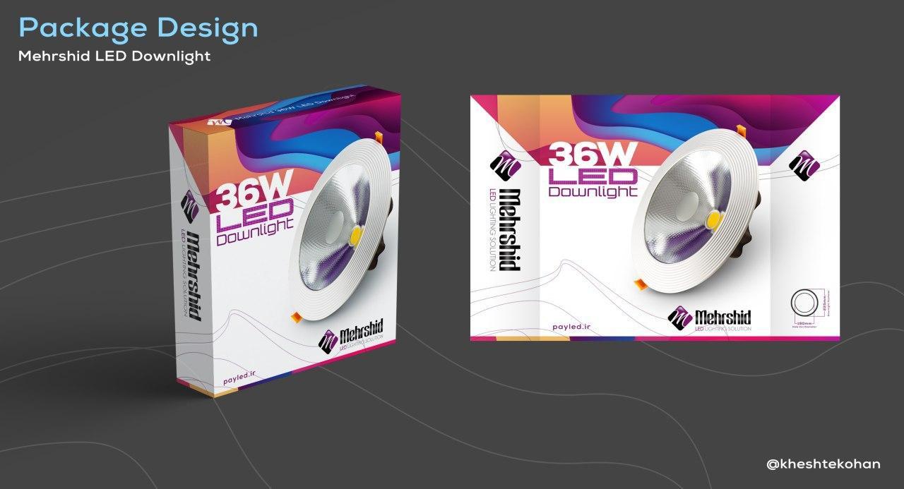 طراحی بسته بندی لامپ ال ای دی ( دانلایت )